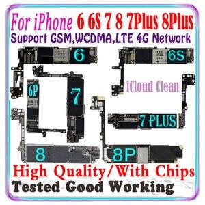 Image 1 - 100% Original Für iPhone 6 6s 7 Plus 8 plus motherboard Für iPhone 6S 7 Plus 8 Plus logic board Mit chips Entsperrt iCloud Sauber