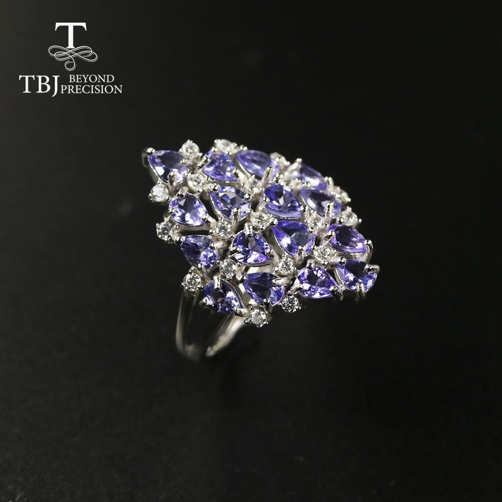 TBJ 2020 Natural Tanzanite Ring Natural Precious  Gemstone  925 Sterling Silver Fine Jewelry For Women Anniversary Party Gift
