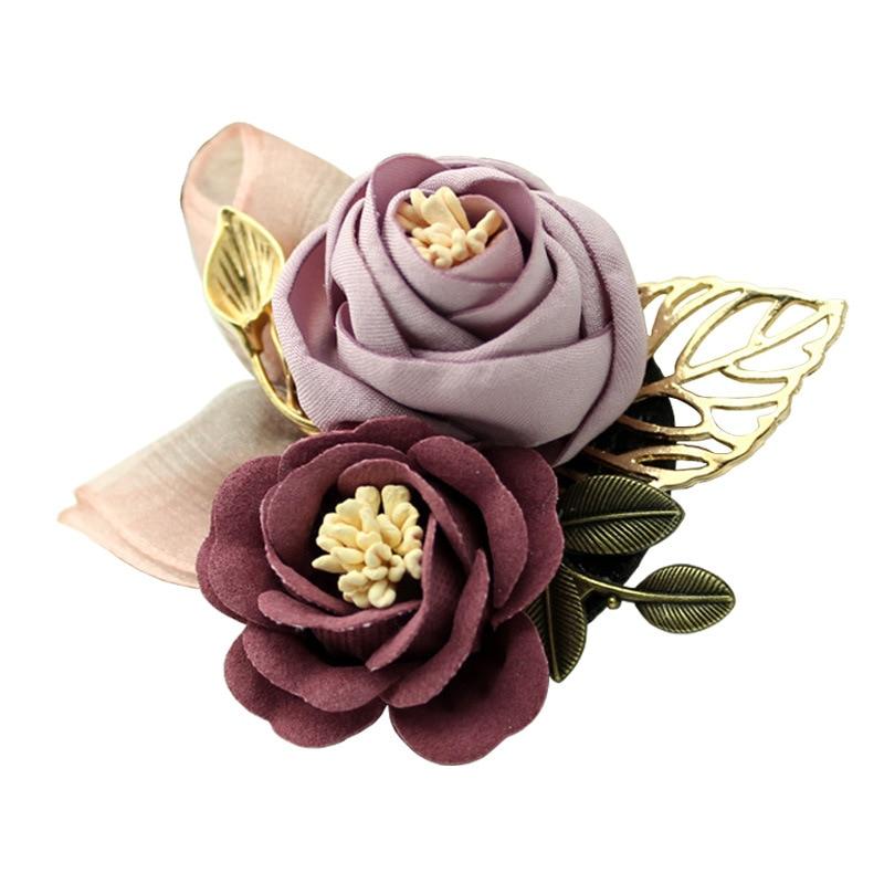 i-Remiel Korean Cloth Art Fabric Flower Brooch Shirt Collar Vintage Pins and Brooches for Women Dress Shirt Collar Accessories 5