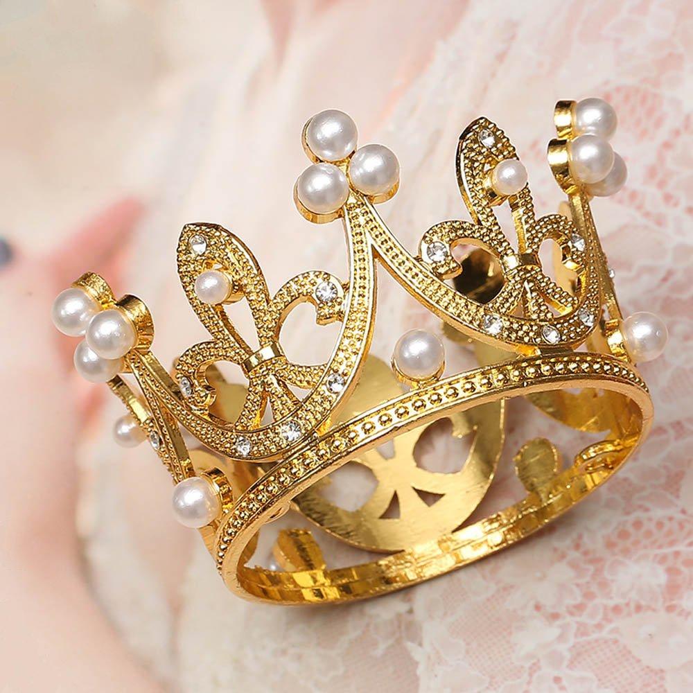 Luxury Mini Golden Silver Pearl Crown Cake Topper Metal Hollow Shiny Handmade Cake Decor Kids Birthday Party Wedding Supplies