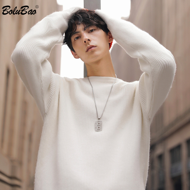 BOLUBAO Autumn New Men Pullover Sweaters Fashion Brand Men's High Street Solid Color Sweater Male O-Neck Casual Sweater