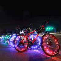 Luz LED de bicicleta de 20 colores, luz de radio para rueda de bicicleta, lámpara de noche a pilas o iluminación intermitente alimentada por USB