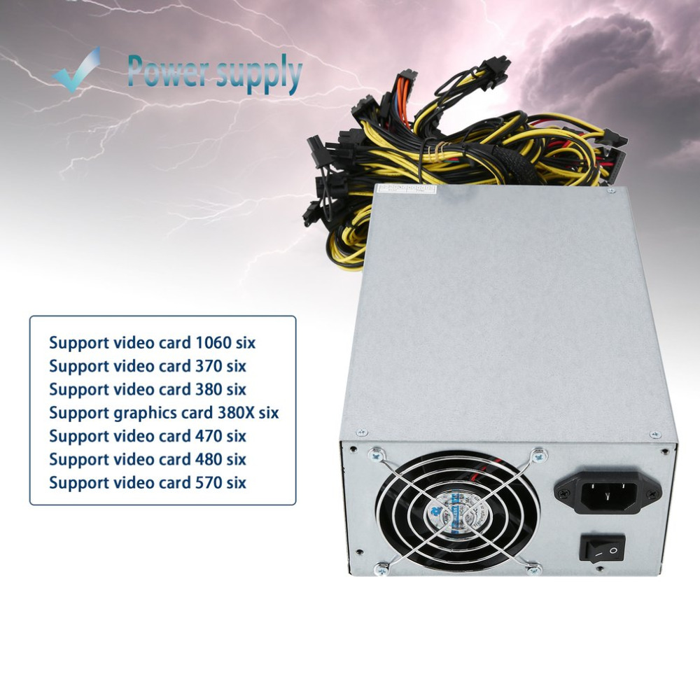Alimentation d'énergie de rendement élevé de 1800W pour la Machine 6 de mineur d'extraction de pièce d'atx GPU ETH BTC Ethereum avec le ventilateur à faible bruit de refroidissement