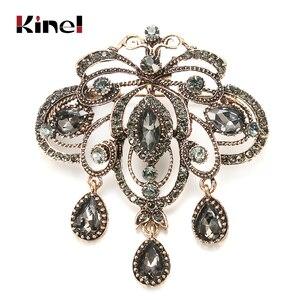 Kinel 2020 Fashion Vintage Gray Crystal Flower Women Brooch Pin Gold Color Arabesque Rhinestone Boho Brooch Lapel Scarf Broches