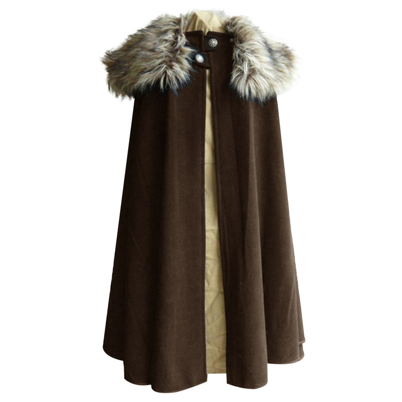 DIHOPE Game Of Thrones Medieval Men's Winter Viking Cape Coat Ranger Coat Gothic Style Fur Collar Cape Cloak Jon Snow Costume