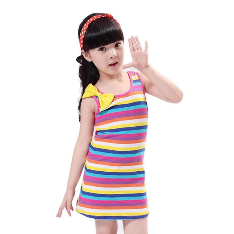 طفل الفتيات فساتين الصيف شريط الأطفال الاطفال فتاة ملابس عادية حفلة عيد ميلاد الأميرة تصميم القوس خزان فستان الشاطئ عادية