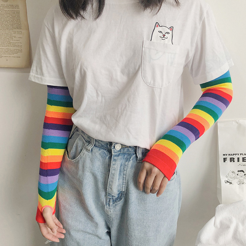 New Arrival Women Girl Harajuku Elbow Length Fingerless Arm Sleeve Warmer Rainbow Colored Striped Knitted Sunscreen Gloves