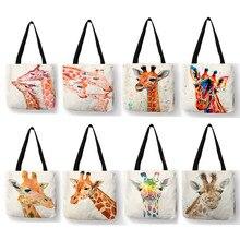Watercolor girafa veados impressão tote bags para mulheres bolsas casuais saco de compras grande capacidade dropshipping atacado sy0060