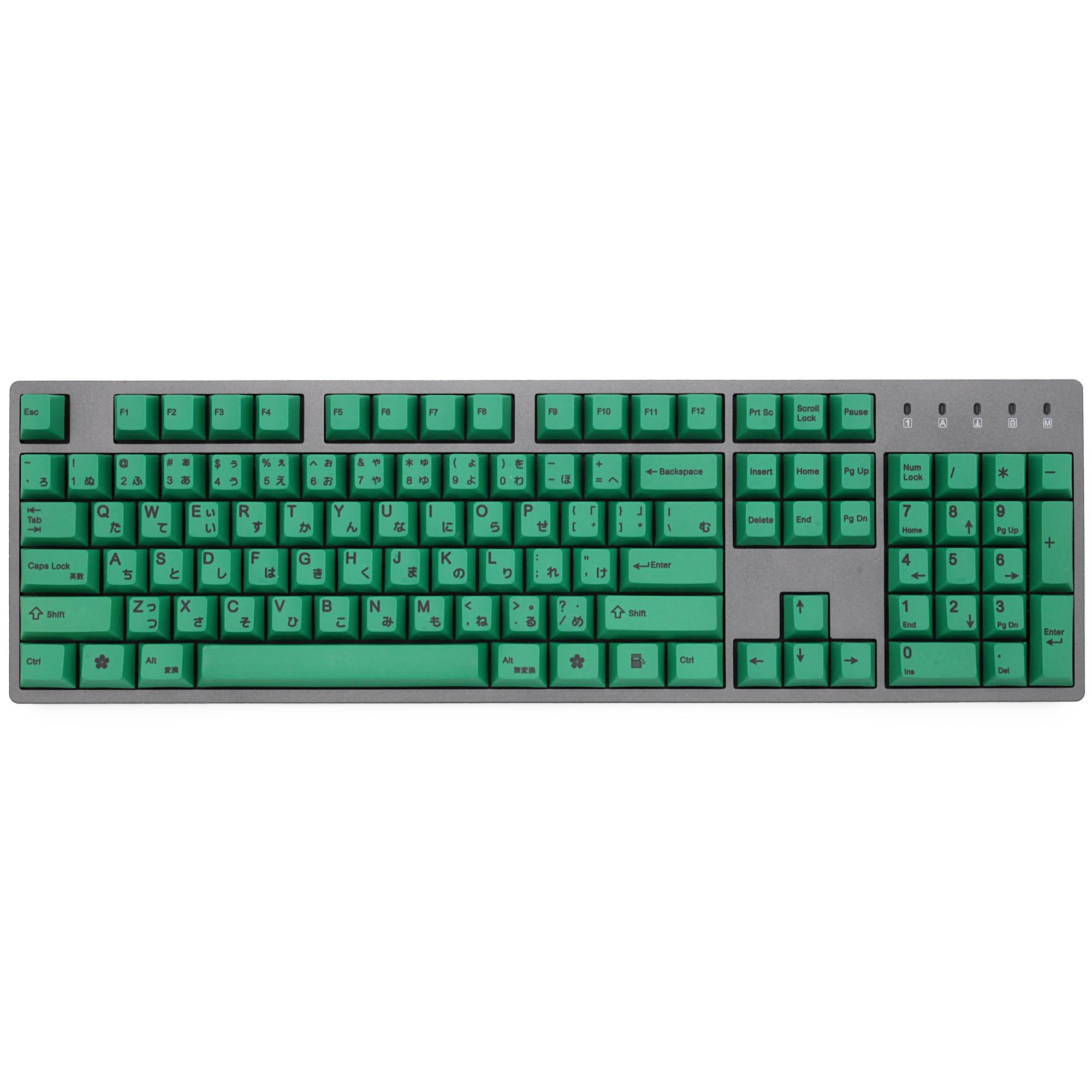 Green 139 Japanese Root Japan Black Font Language Cherry Profile Dye Sub Keycap PBT For Gh60 Xd60 Xd84 Cospad Tada68 87 104