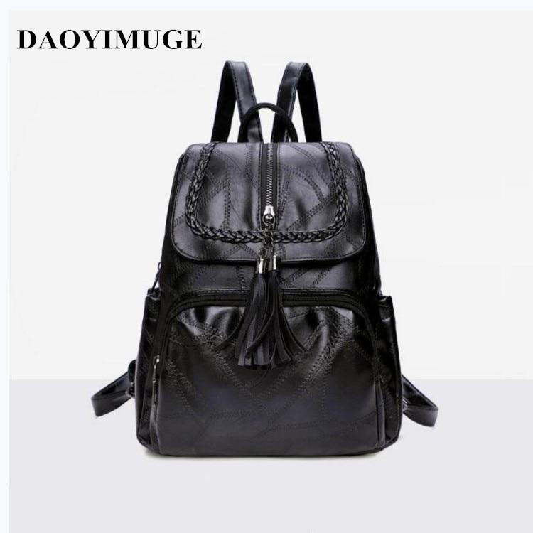 Stylish Backpack Women's Tassel Backpack Soft Skin Backpack Student Laptop Bag 2020 New Women's Backpack