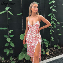 Hugcitar 2020 sleeveless floral print slit secy dress summer women fashion stree