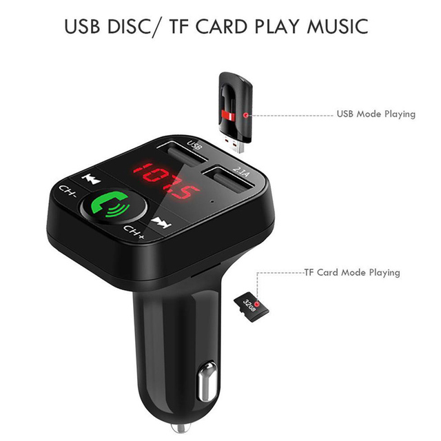 KDsafe Bluetooth Wireless Car kit Handfree LCD FM Transmitter Dual USB Car Charger 2.1A MP3 Music TF Card U disk AUX Player 2
