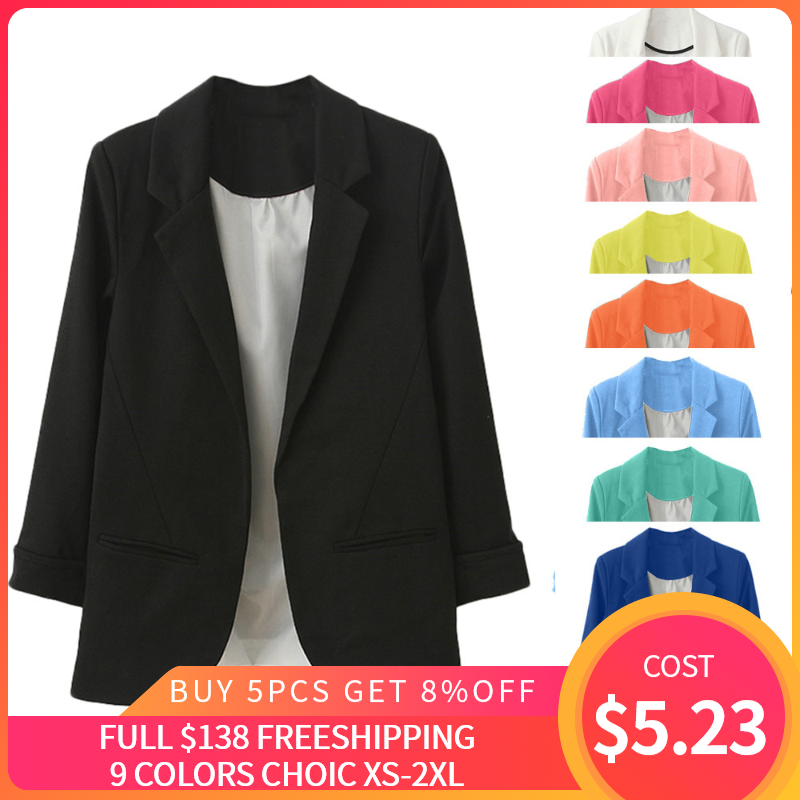 OL Style Nine Quarter Cuffed  Sleeve Blazer Elegant Slim Suit Coat Vintage Office Work Open Suits Outerwear high quality