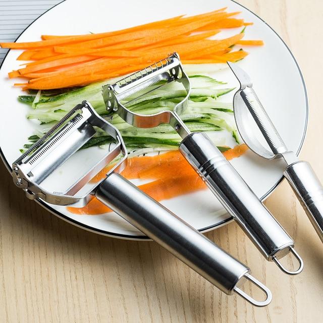 Aço inoxidável multi-função vegetal descascador & cortador de ampjulienne descascador de batata cenoura ralador ferramenta de cozinha 3