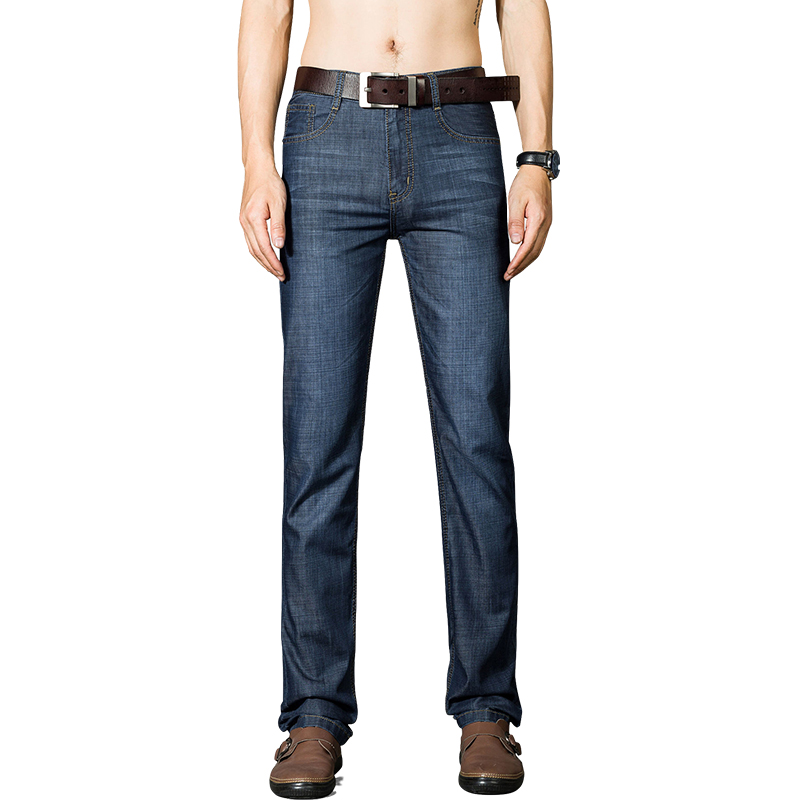 DAISHU New Cotton Jeans Men High Quality Dark Blue Denim Trousers Soft Mens Pants Summer Jean Fashion Large Big Size 40 42 44