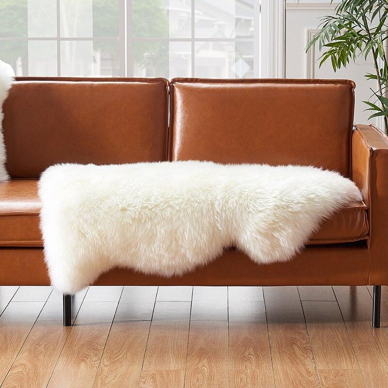 Wybrane wysokiej jakości prawdziwe futro z nowej zelandii dywan z owczej skóry, beżowy biały kudłaty futra owiec dekoracji poduszka na kanapę, futrzany dywan w Dywany od Dom i ogród na  Grupa 3