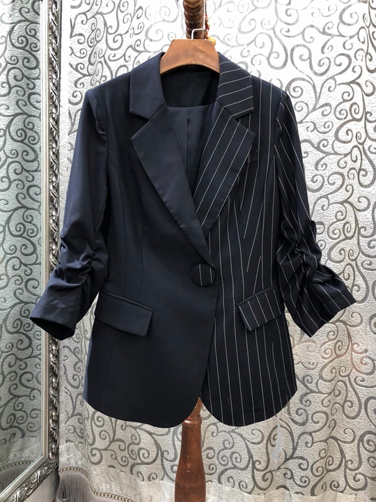 Jacket Suit Short Early-Autumn Striped Women's Long-Sleeved New Collar 817 Symmetrical