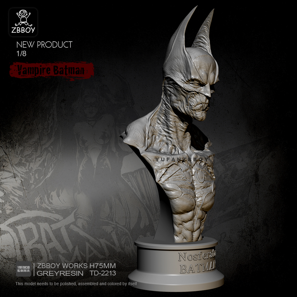 75MM Resin Bust Of Vampire Batman Model Self-assembled TD-2213
