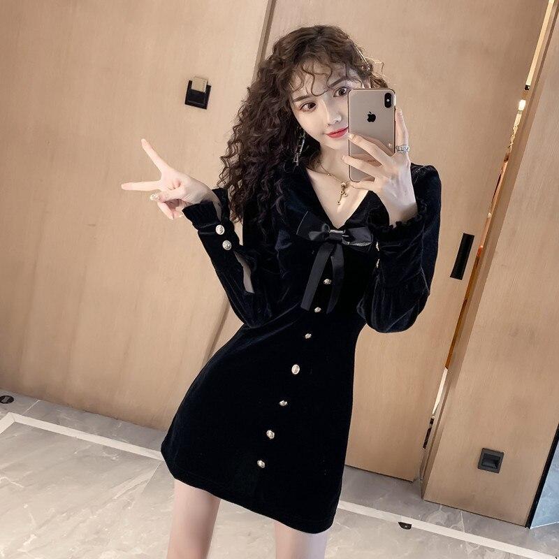 WOMEN'S Dress 2019 Autumn And Winter New Style Single Breasted Fashionable Elegant Goddess-Style Western Style Velvet Long Sleev