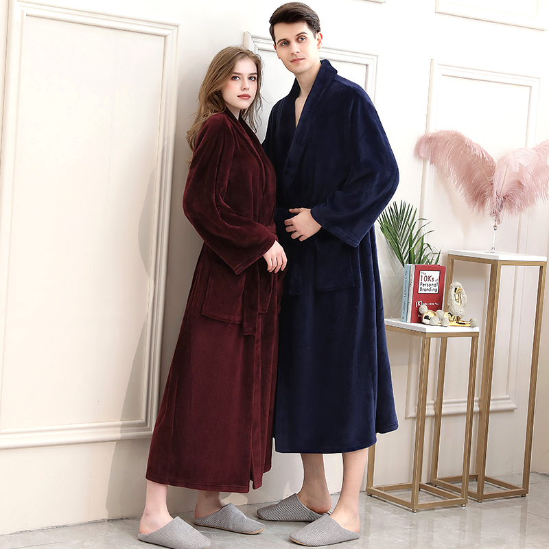 40-130KG Plus Size Men Winter Long Plaid Warm Coral Fleece Bathrobe Flannel Bath Robe Kimono Robes Dressing Gown Night Sleepwear