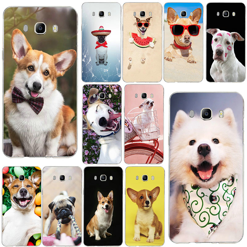 Cute Funny <font><b>Dog</b></font> Welsh Corgi Soft TPU <font><b>Phone</b></font> <font><b>Cases</b></font> For <font><b>Samsung</b></font> <font><b>Galaxy</b></font> <font><b>A3</b></font> A5 A7 J2 J3 J4 J5 J6 J7 2016 <font><b>2017</b></font> 2018 Back Cover Coque image