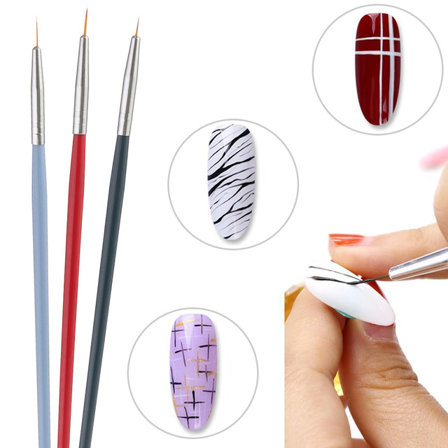 3PCS Nylon Painting Brushes Wood Handle Paint Brush Different Size Hook Line Pen For Watercolor Oil Acrylic Painting Art Tools 5