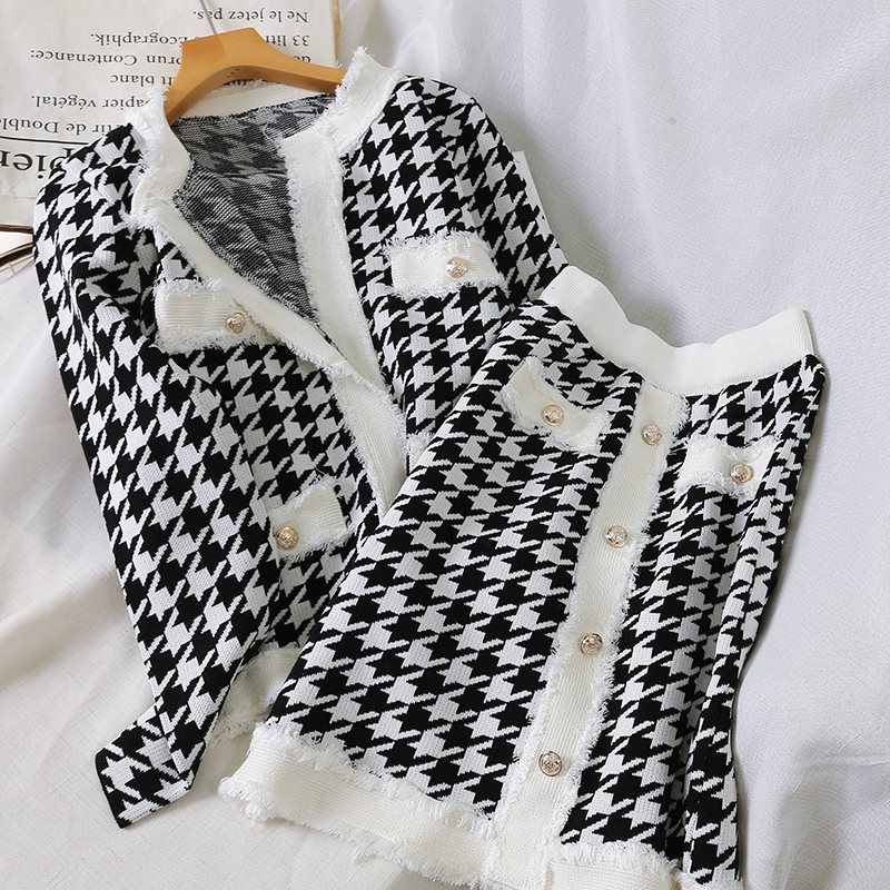 High Quality Women Houndstooth Single Breasted Knitted Cardigan + Hit Color Elastic Bodycon Pencil Skirts Set Summer Knit 2 PCS