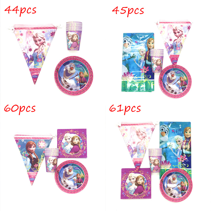 61pcs <font><b>Princess</b></font> Frozen <font><b>Party</b></font> Supplies Paper Flags Plates Cups Napkins Girls Frozen Elsa Anna Birthday <font><b>Party</b></font> Decoration Tablecloth image