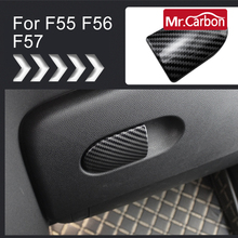 Car Interior Decorative Carbon Stickers On The Handle Of The Co Pilot Storage Box  For BMW MINI ONE Cooper S JCW F55 F56 F57