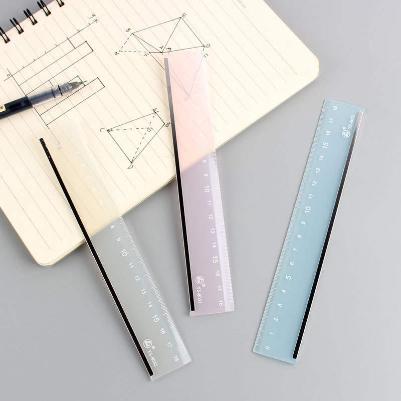 Creative Simple Candy-Colored Transparent Ruler Acrylic Ruler Multi-functional Metal Covered Edge Students PDA-Feet 18 Cm