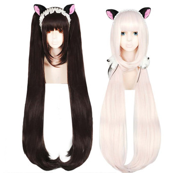 цена на Anogol Chocola NEKOPARA Wig Chocolate Double Ponytail Long Straight Brown Pink Synthetic Cosplay Wig for Party Role Play
