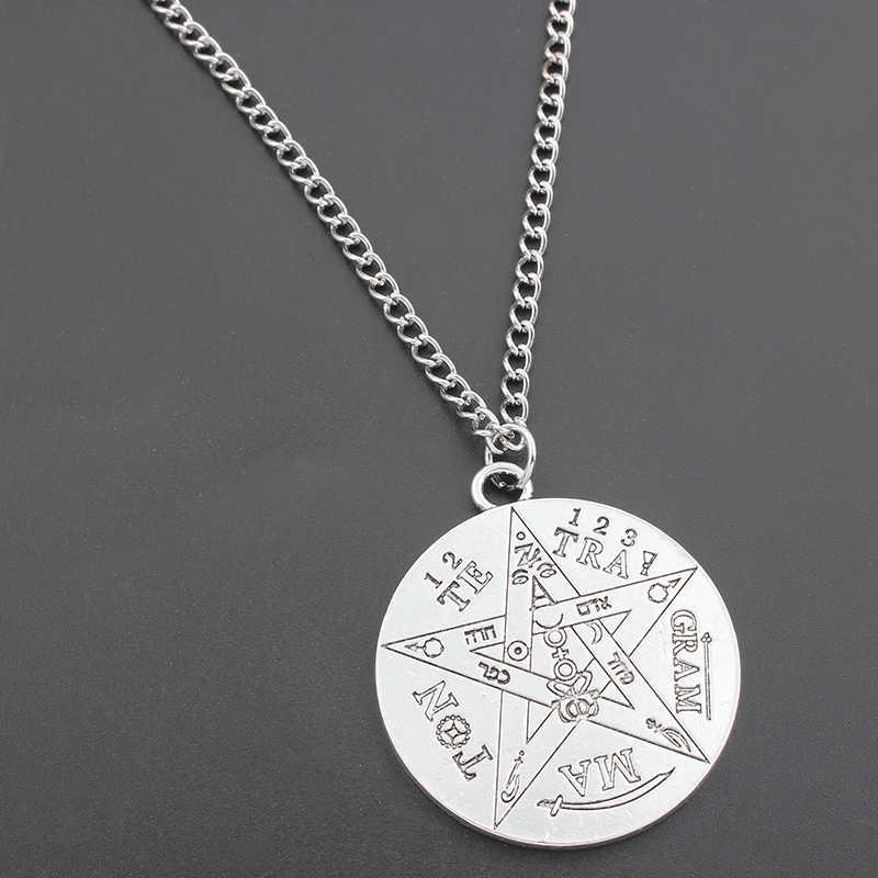 1 sztuk moda czary tetragram Pentagram wisiorek naszyjnik łańcuch gwiazda Charms dla kobiet mężczyzn srebrny kolorowy naszyjnik biżuteria