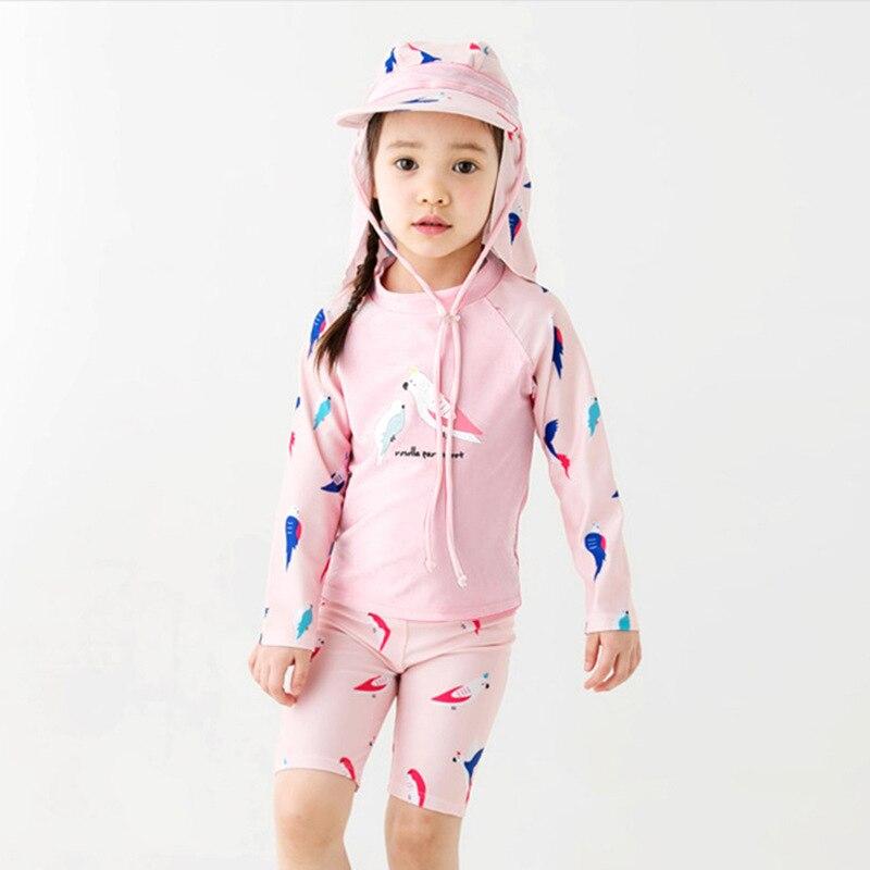2019 Summer New Style KID'S Swimwear Girls Big Boy Split Type Parrot Pink Tour Bathing Suit GIRL'S Swimwear Wholesale