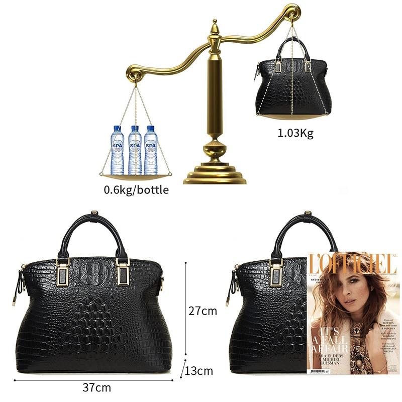 Qiwang Classical Luxury Women's Shoulder Bag 100% Genuine Crocodile Leather Black Handbag Brand Designer Tote Bag Large Capacity-in Top-Handle Bags from Luggage & Bags    3