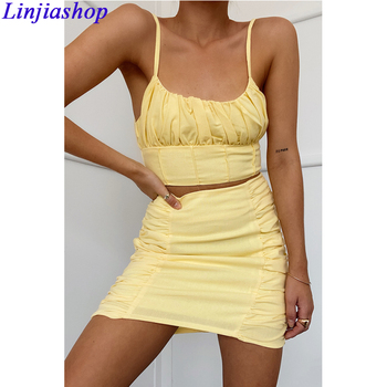 Two piece set women summer sexy yellow cotton and linen crop top Strudel Pleated Mini Skirt female suit sets dropshipping image
