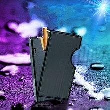 2-en-1 caja de cigarrillo de carga USB de carga de la caja del cigarrillo, a prueba de viento encendedor para fumar Metal caso de cigarrillos recargable cajas