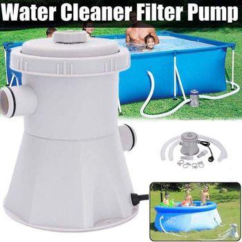 EU plug 220V elektryczna pompa do basenu z filtrem, pompa do basenu i zestaw filtrów, pompa basenowa, pompa brodzik dla dzieci woda (szara) inte