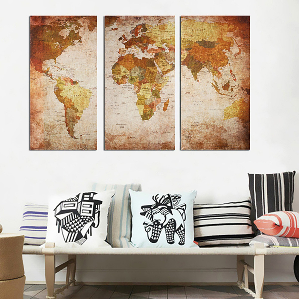 3PCS / Set 45x90cm Vintage World Map Wall Decoration Stickers Posters Living Room Wall Art Pictures Home Decor Canvas Paintings