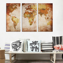 3PCS / Set 45x90cm Vintage World Map Wall Decoration Stickers Posters Living Room Wall Art Pictures Home Decor Canvas Paintings 3pcs set 3d removable room decoration wall stickers