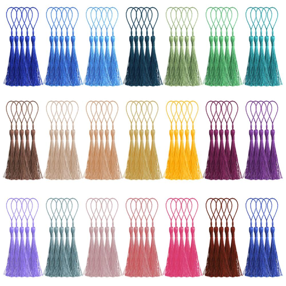 100 Pieces/lot Silk tassels 20 colors fringe trim for Curtains DIY Bookmarks earring jewelry finding silk tassels with Loops