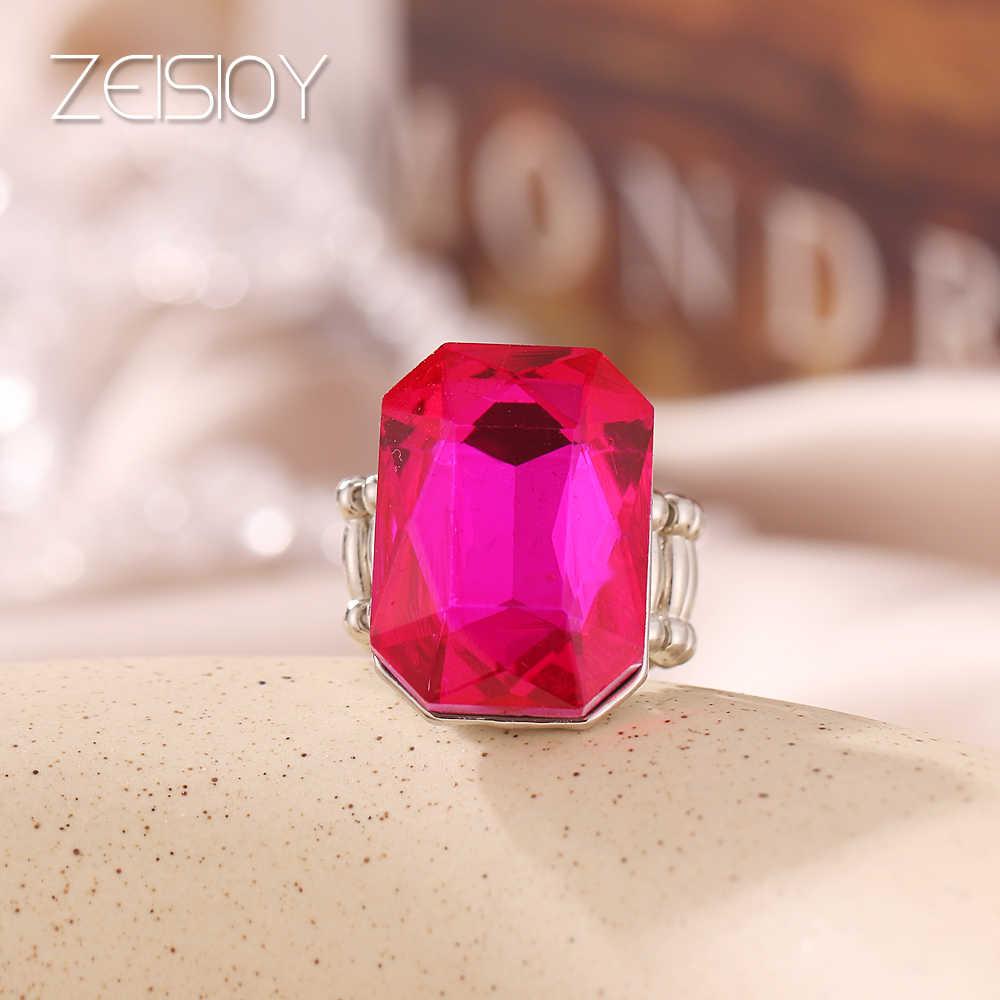 2020 персонализированные и элегантные дамские большие кольца, с большим стеклянным камнем, несколько цветов, для женщин, модный, эластичной резинкой на палец ri
