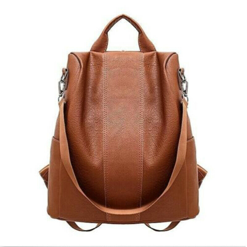 New Casual Womens Leather Backpack Anti-Theft Rucksack School Shoulder Bag Black/Brown
