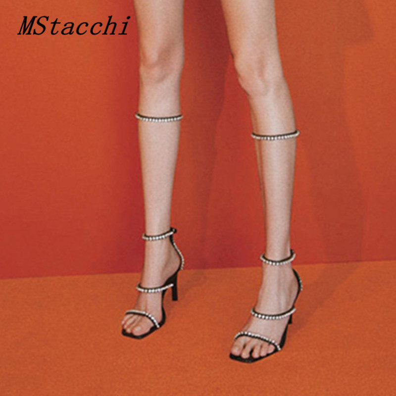 MStacchi Rome Style Rhinestone Buckles Sandals High Heels Sandalia Feminina Sexy Party Shoes Woman Sandalias Mujer 2020 Stiletto