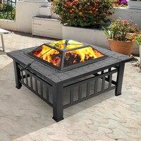 미국에만 배송 휴대용 안뜰 금속 화재 그릇 금속 화재 구덩이 정원 뒷마당 화재 구덩이 안뜰 직사각형 Firepit 스토브