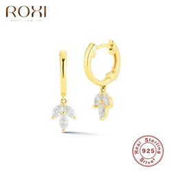 ROXI Luxury Clover Zircon Crystals Hoop Earrings for Women Wedding Earrings Cartilage 925 Sterling Silver Jewelry Pendientes