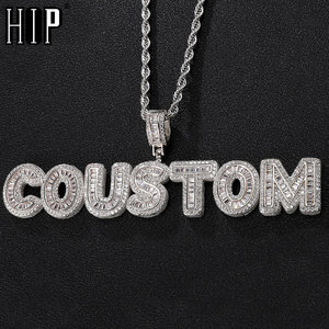 Hip Hop Iced Out Custom Name Baguette Letters Cubic Zircon CZ AAA+ Pendants & Necklaces For Men Customized Jewelry