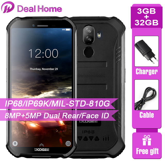 "Doogee S40 5.5""Screen Waterproof 3GB RAM 32GB ROM Smartphone MTK6739 Quad Core Android 9.0 4650mAh 8.0MP NFC 4G LTE Mobile Phone"