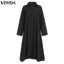 VONDA White Dress Women Sexy Turn-down Collar Asymmetrical Party Dress Office Ladies Sundress Casual Vestido Plus Size Robe