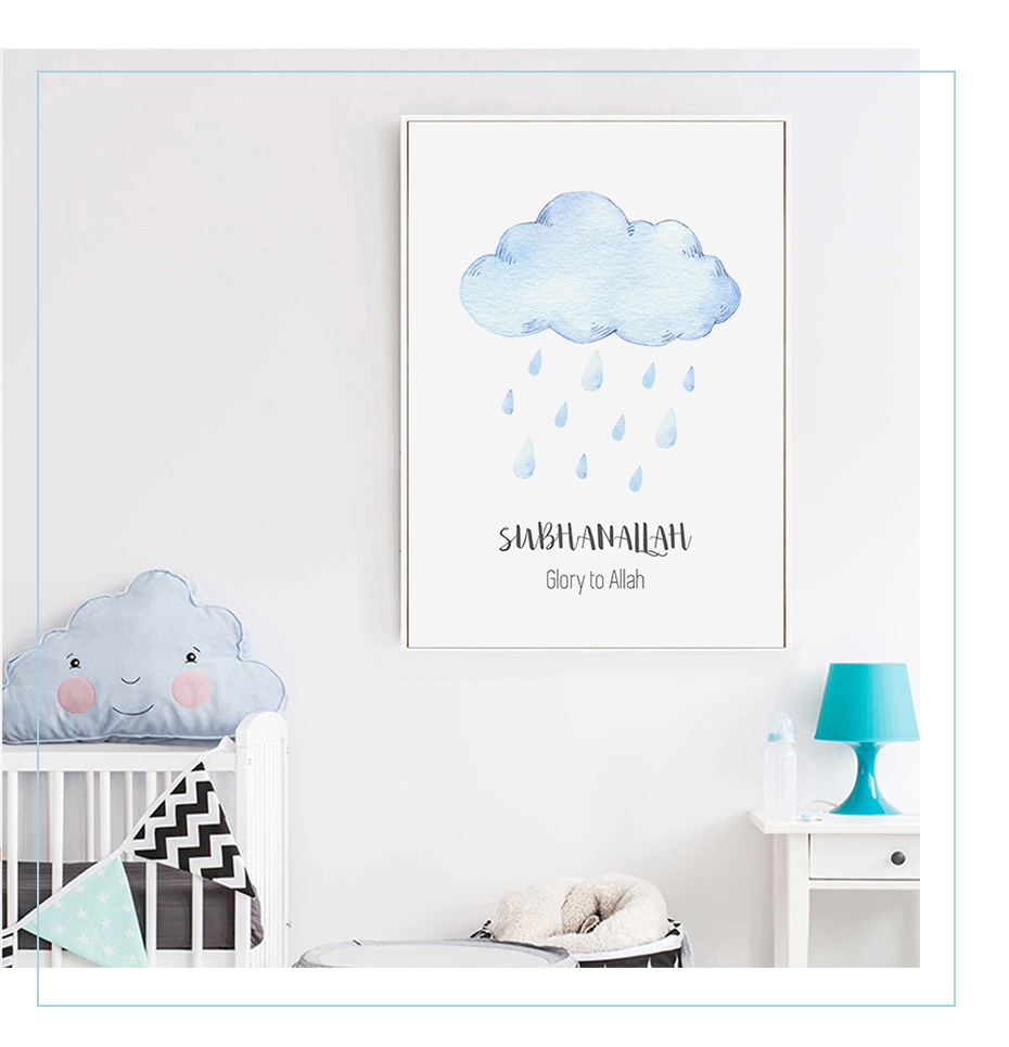 Allah Islamic Wall Art Pictures Hot Air Balloon Clouds Nursery Decor Canvas Painting Print Poster Picture Gift Baby Room Home