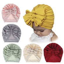2020 Baby Cotton Turban Top Knot Hat Toddler Kids Boy Girl India Beanie Cap Lovely Soft Newborn Three Bows Headwear Accessories(China)